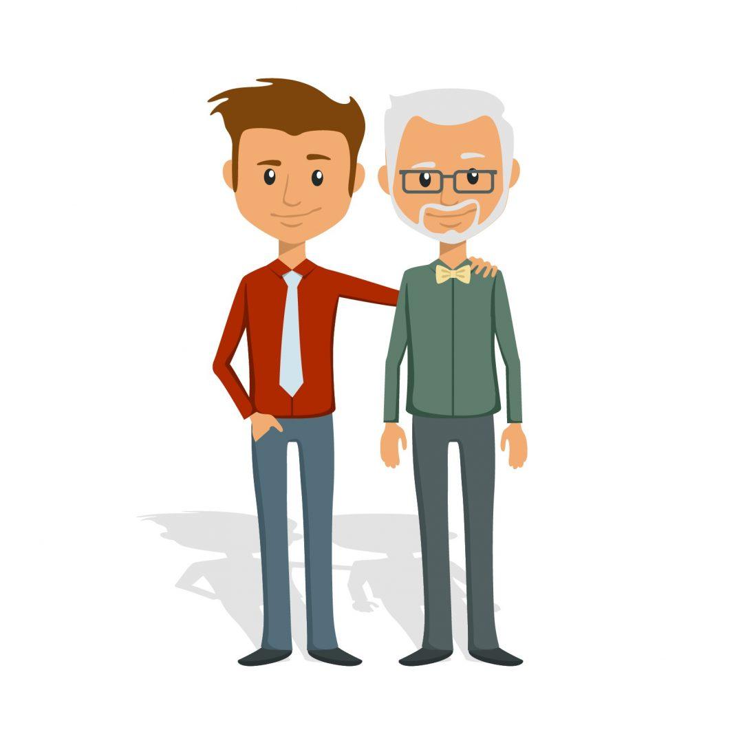 ilustración de padre e hijo adulto